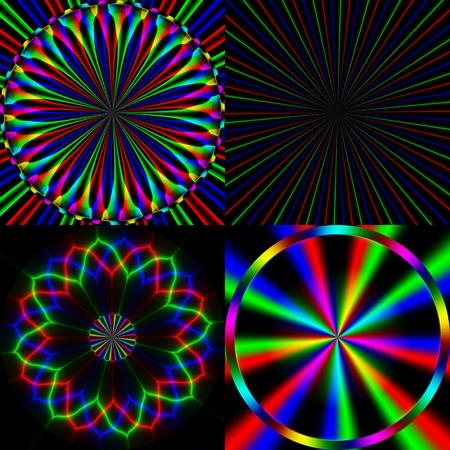 emission: Four bright rainbow emission pattern