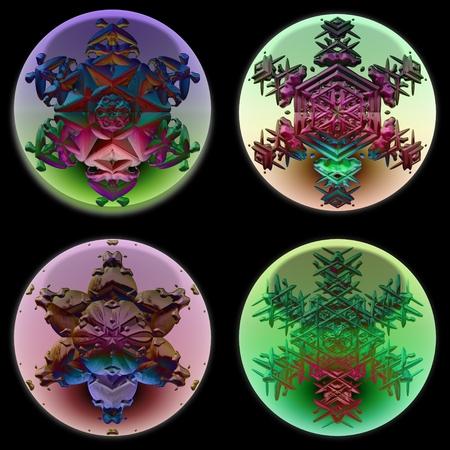 metalized: Ornamental snowflakes in glass spheres