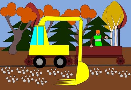 mounds: Excavator regulates the terrain around the track Illustration