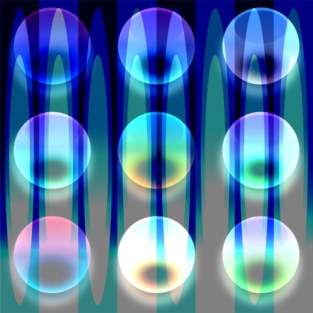 Transparent colorful glass bubbles on abstract blue background photo