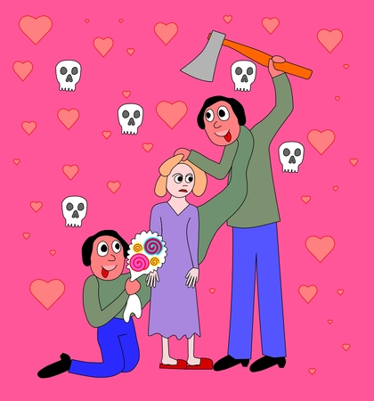 Symbolic picture behavior psychiatrically ill persons in relation - man, woman, bouquet, ax