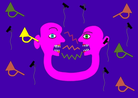 psychopathy: Pink two-headed person in communication contradiction Illustration