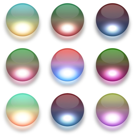 complementary: Colorful glass globes isolated on white illustration