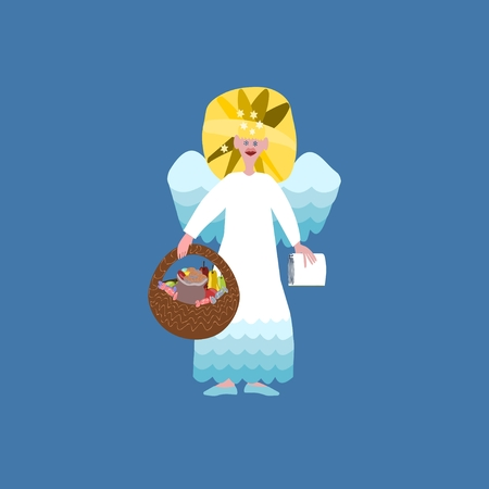 deeds: Christmas angel with book of good deeds and basket with sweets isolated on blue background