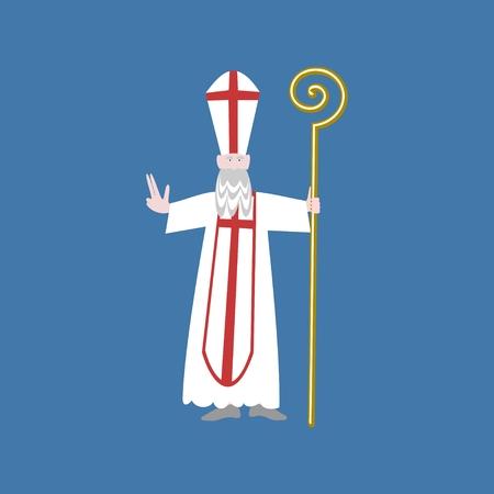 sinterklaas: Saint Nicolas isolated on blue background Stock Photo