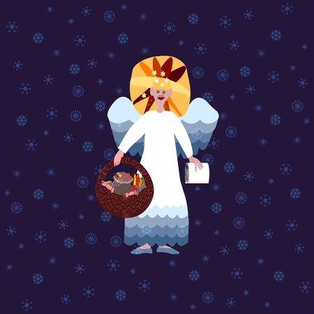 deeds: Christmas angel with book of good deeds and basket with sweets on blue background with snowflakes
