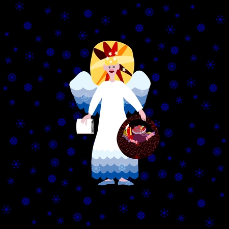 deeds: Christmas angel with book of good deeds and basket with sweets on dark background