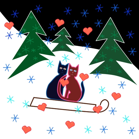 Love cats sledge ride through the snowy hillside. Vector
