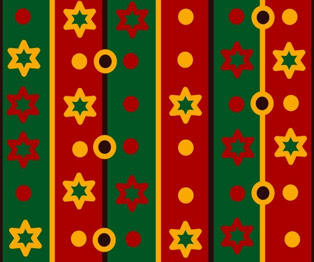 gaudy: Simple retro striped pattern with stars and circles