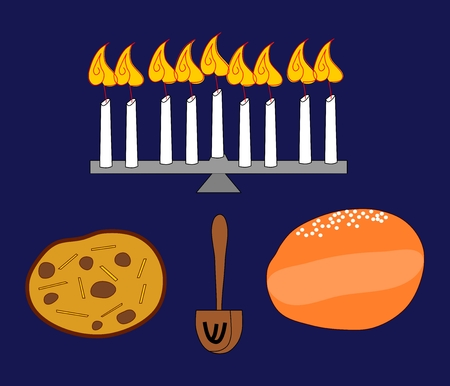 hanukka: Candle holder with burning candles, potato pancake, donut and dreidel Hanukkah still life