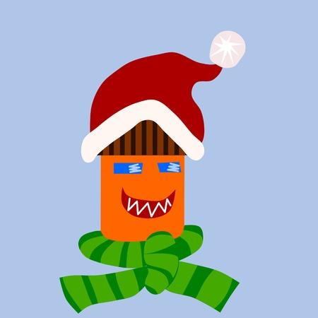 pompom: Concetto di casa isolata - sorridente edificio cartone animato con tappo rosso con pompon bianco e sciarpa a righe verdi