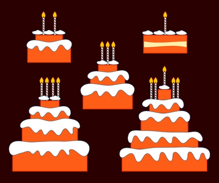 third birthday: Birthday or anniversary cake with one, two, three, four and five candles Illustration