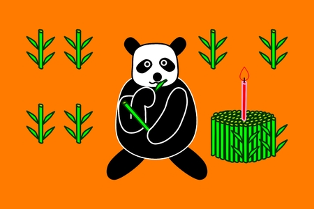 Wild panda bear with birthday cake of bamboo shoots with one red candle Vector