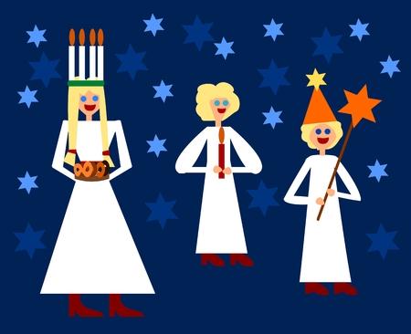 st lucia: Saint Lucia with green wreath and lighting candles on head holding traditional pastry accompanied by little girl holding candle and small boy holding star