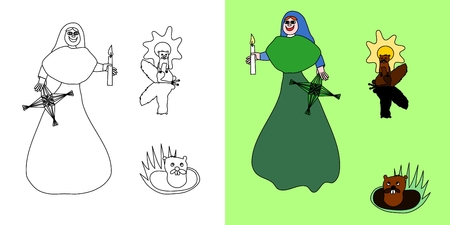 midwinter: Midwinter feasts coloring letter with saint Brigid and groundhog