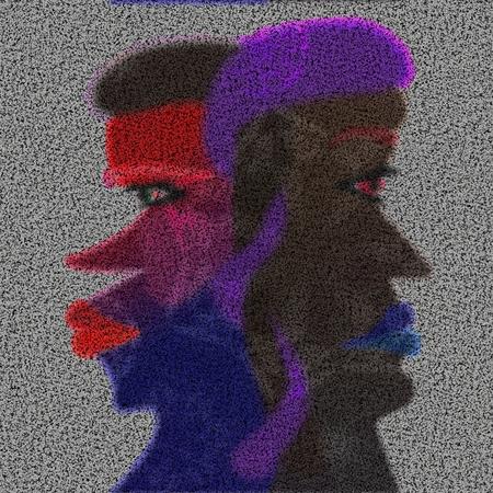 ambivalence: Deux profils de visage interconnexionnalit� Banque d'images