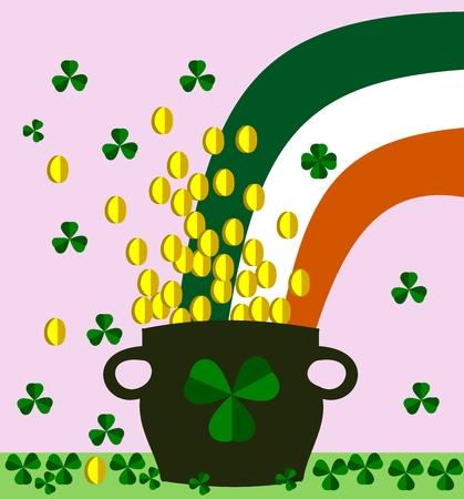 Shamrocks, pot with golden coins and irish flag - saint Patrick day Vector