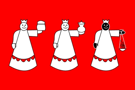 biblical: Biblical Magi - three kings - simple drawing on red background
