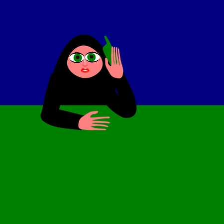 submissiveness: The woman on the phone Illustration