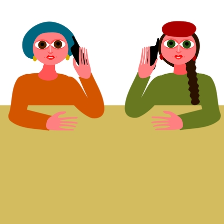 two women talking: Two women talking on your mobile phone Illustration