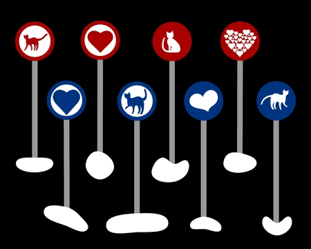 Cute alternative road signs with hearts and cats isolated on black background Vector