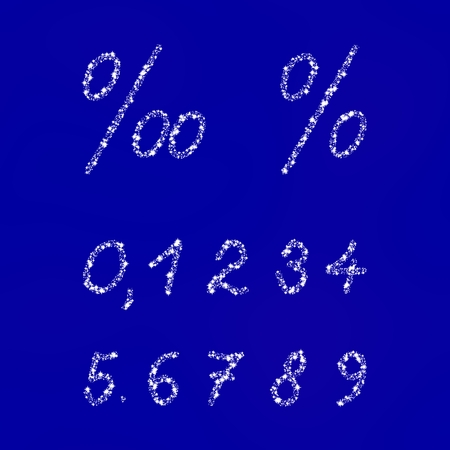 insulated: White numbers and signs composed of snowflakes or stars on blue background Stock Photo