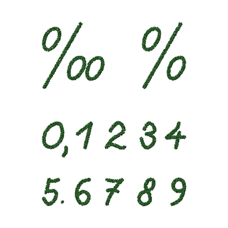 decimal: Numbers and signs composed of green coffee beans on white background Stock Photo