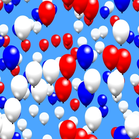 Red white blue party air balloons on sky photo