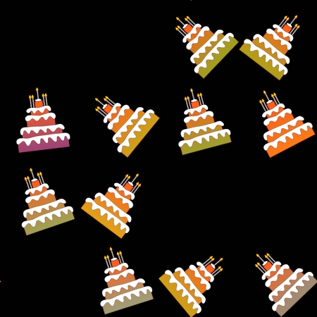 sidebar: Seamless pattern of sweet birthday cakes isolated on black background