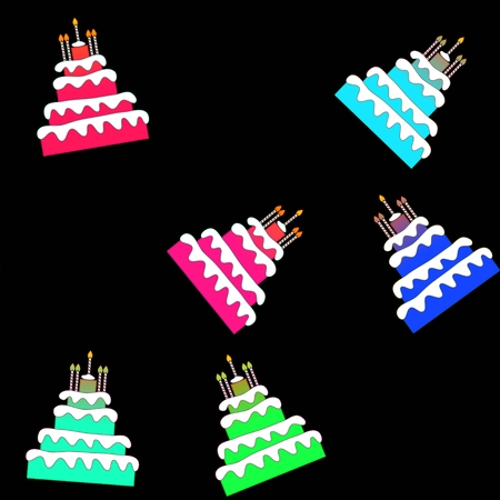 Seamless pattern of funny colorful birthday cakes photo
