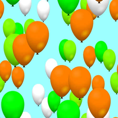 Green orange white air party balloons on sky photo