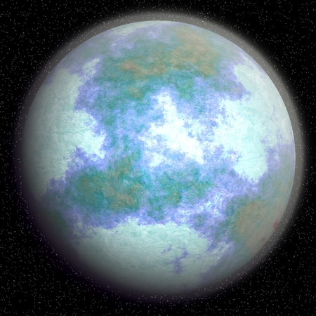 global cooling: Computer generated fantasy planet after the global cooling