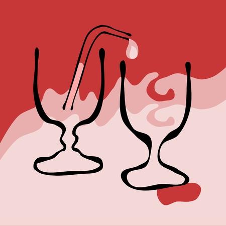 carmine: Dos vasos de estilo vintage Vectores