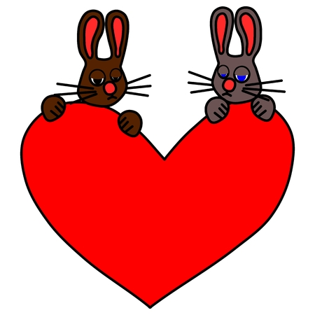 sehnsucht: Paar traurigen Kaninchen mit gro�en roten Herzen Illustration