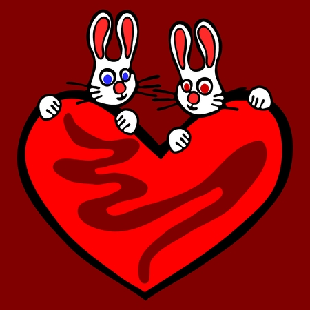 blue eyed: Couple of rabbits with big bloody heart isolated on dark red background