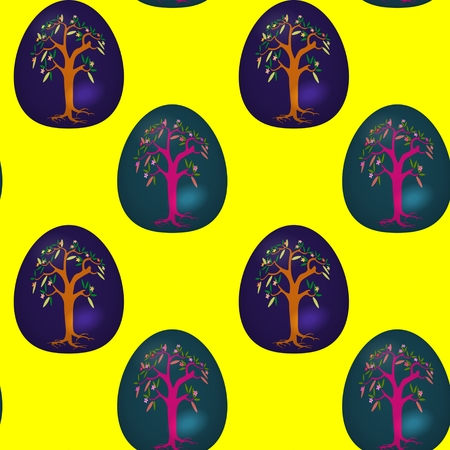 sidebar: Seamless pattern with decorated Easter eggs Stock Photo