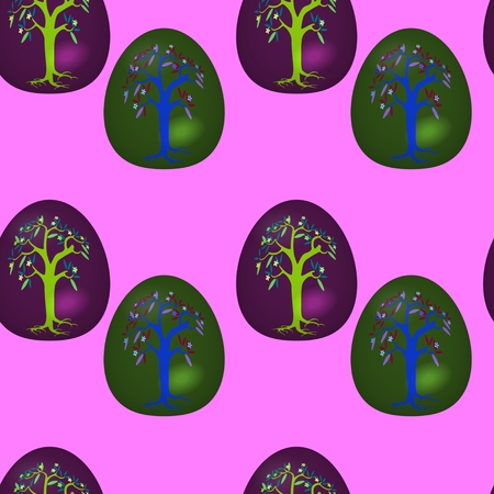 Seamless pattern with decorated Easter eggs Stock Photo