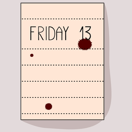 inscription notebook: Sheet of notebook with the inscription Friday 13 and red spots Illustration