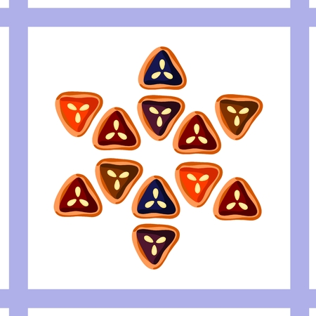 Triangular-shaped cookies form together hexagram on blue and white background Vector
