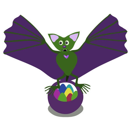 flapping: Green bat flapping its green wings over a basket of colored easter eggs.
