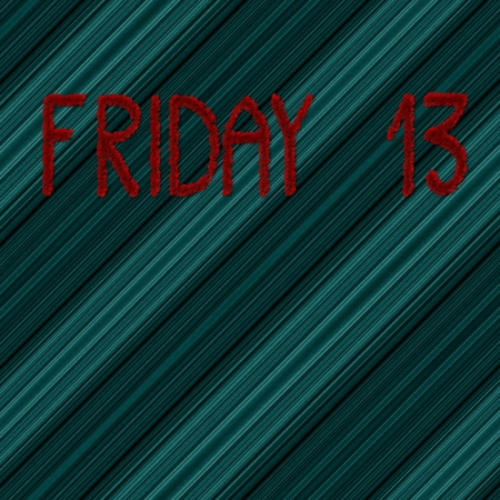 diagonally: Friday 13 red inscription on abstract blue diagonally background