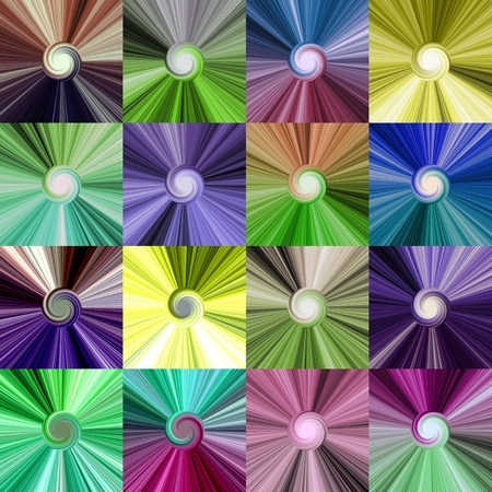 sidebar: Set of colorful abstract spiral centralized bright backgrounds