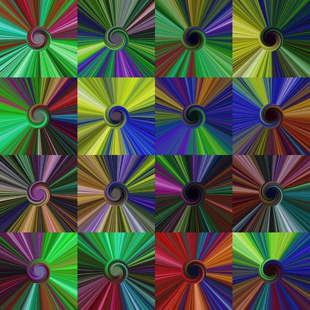 centralized: Set of colorful abstract spiral centralized dark backgrounds