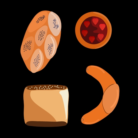 Set of common Central European bread isolated on black Illustration