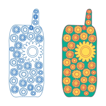 filling line: Mobile phone blooming - two version - line icon and with colored filling