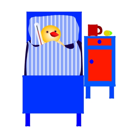Ill chicken lying in bed with thermometer photo