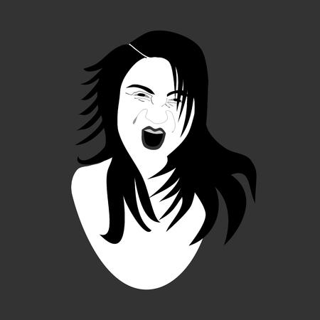 disheveled: Screaming girl - black and white illustration