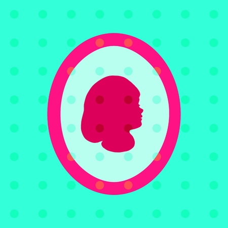 Retro polka dot pattern with stylized girl profile head photo