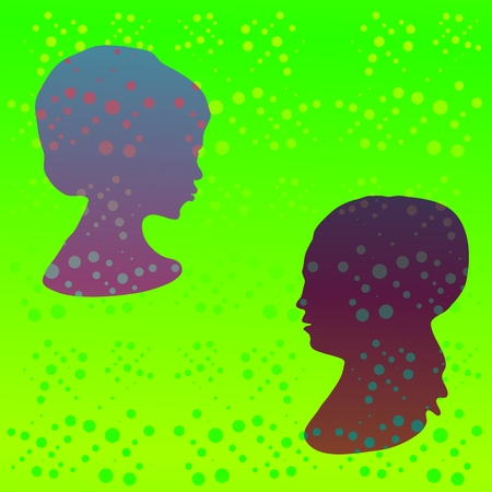 Green retro polka dot pattern with stylized girl profile head photo