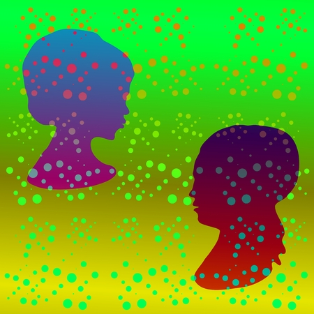 parapsychology: Green retro polka dot pattern with stylized girl profile head